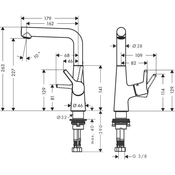 Смеситель hansgrohe Talis S для раковины с поворотным изливом и сливным гарнитуром 72105000, хром
