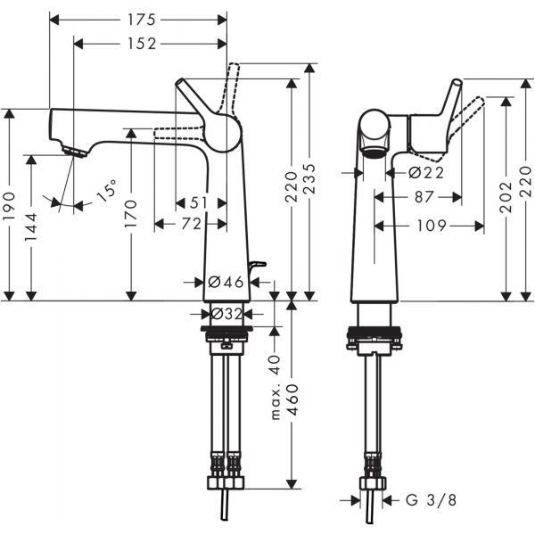 Смеситель hansgrohe Talis S для раковины со сливным гарнитуром, хром 72113000