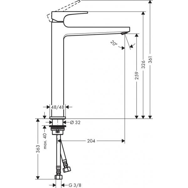 Смеситель hansgrohe Metropol для раковины со сливным клапаном Push-Open 74512000