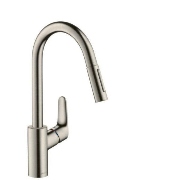 Смеситель hansgrohe Focus для кухонной мойки с выдвижным душем, сталь 31815800